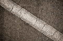 Asphalt With White Diagonal Line Royalty Free Stock Photography
