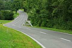 Asphalt winding curve road Stock Photos