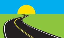 Asphalt winding road and green landscape. Vector illustration. Royalty Free Stock Image