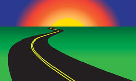 Asphalt winding road and green landscape. Vector illustration. Royalty Free Stock Photography