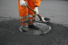 Asphalt worker Royalty Free Stock Photos