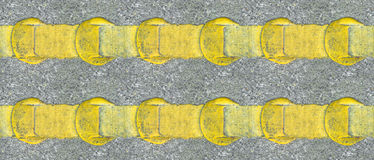 Asphalt yellow road lines Stock Images