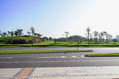 Asphalted hightway in sunny winter morning Royalty Free Stock Photo