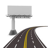 Asphalted road with billboard. Isolated 3D Royalty Free Stock Photos