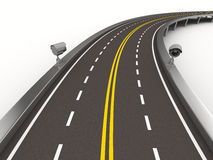 Asphalted road with camera on white. 3D image Stock Photo