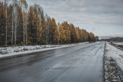 The asphalted road covered with snow. On road some strips from wheels of cars are visible Royalty Free Stock Image