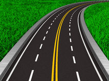 Asphalted road on grass. 3D image Royalty Free Stock Images