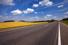 The asphalted road. The small rural asphalted road photographed in summertime of year. Belarus Stock Image