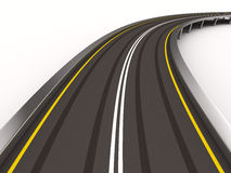 Asphalted road on white. Isolated 3D Royalty Free Stock Photography