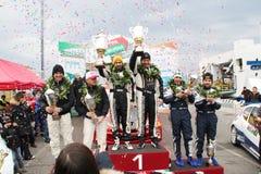 Asphaltez la cuvette Liburna, gagnants, équipe de rassemblement de podiume photo stock
