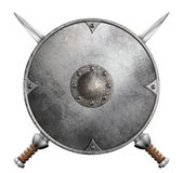 Asphaltieren Sie die gekreuzte der Klingen 3d lokalisierte Illustration des Gladiatorschildes und zwei Stockfotografie