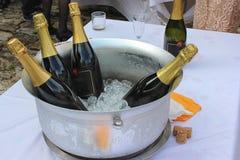 Asphaltieren Sie die Schüssel, die mit Eis- und Weinflaschen gefüllt wird stockfoto