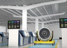Asphaltieren Sie Drucker 3D und Ventilatormaschine auf Maschinenstand Stockbild