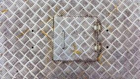 Asphaltieren Sie Fabrikboden, gebürstete Metallbeschaffenheit, alter Edelstahl Stockfotos