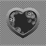 Asphaltieren Sie Herz mit silbernen Gängen auf dem Eisenhintergrund Stockfotografie