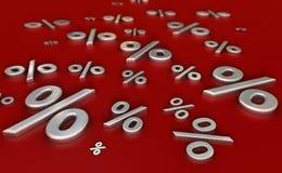 Asphaltieren Sie reflektierende Prozentzeichen auf einer roten Oberfläche Lizenzfreie Stockbilder