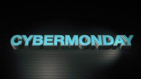 Asphaltieren Sie Text 3D Cyber mondey mit Reflexion und beleuchten Sie Stockfotos
