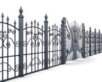 Asphaltieren Sie Zaun und Tor auf einem weißen Hintergrund renderin 3D stockfoto