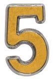 Asphaltieren Sie Ziffer 5 fünf, lokalisiert auf weißem Hintergrund Stockfoto