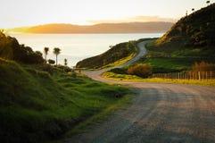 Asphaltierte Landstraße mit Taktstock- und Drahtzaun, Mahia-Halbinsel, Nordinsel, Neuseeland Lizenzfreie Stockbilder