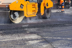 Asphalting city streets Royalty Free Stock Images