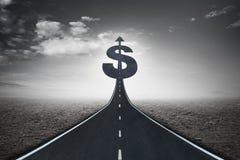 Asphaltstraßeüberschrift in Richtung zum Dollar singen Stockbild