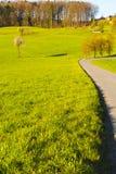 Asphaltstraße, die zu den Bauernhof führt Stockbild