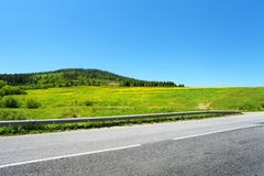 Asphaltstraße und grüne Bäume auf Hügel lizenzfreie stockfotos