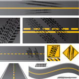 Asphaltstraßevektor mit Reifenbahnen Stockbild