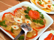 Aspic from meat with egg Royalty Free Stock Photo