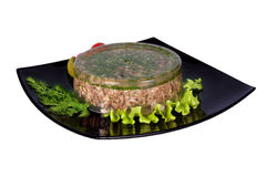 Aspic meat jelle over white Royalty Free Stock Images