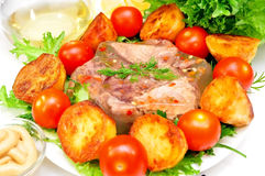 Aspic from meat stock image