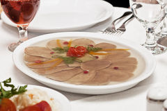 Aspic. On a table there is a dish with aspic Royalty Free Stock Photo