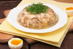 Aspik des Hühnerfleisches, -rindfleisches und -schweinefleisch Stockbild