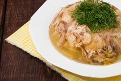 Aspik des Hühnerfleisches, -rindfleisches und -schweinefleisch Stockfoto
