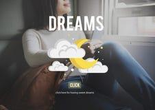 A aspiração dos sonhos acredita o conceito da motivação da inspiração Fotos de Stock Royalty Free