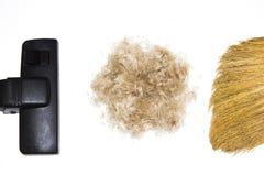 Aspirador de p30, vassoura e bola do cabelo de lãs do animal de estimação isolado no fundo branco Limpeza Fotos de Stock Royalty Free