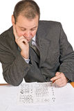 Aspirant with IQ test Royalty Free Stock Images