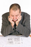 Aspirant with IQ test Royalty Free Stock Photo