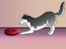 Aspirapolvere e cane Un robot è un aspirapolvere e un cane hoover Aspirapolvere di lavoro Primo piano royalty illustrazione gratis
