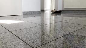 Aspirapolvere robot sul pavimento di marmo luminoso archivi video