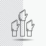 Aspiratie, zaken, wens, werknemer, aandachtig Lijnpictogram op Transparante Achtergrond Zwarte pictogram vectorillustratie stock illustratie