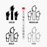 Aspiratie, zaken, wens, werknemer, aandachtig Pictogram in Dunne, Regelmatige, Gewaagde Lijn en Glyph-Stijl Vector illustratie stock illustratie
