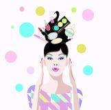 Aspiration abstraite de fille étonnée dans la boutique avec du cosmétique Image stock