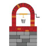 Aspiration bien avec l'illustration de vecteur de brique rouge Image stock