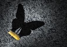 Aspirations And Ambition Concept. Aspiration concept and ambition idea as a caterpillar casting a shadow odf a butterfly as an achievement and hope for futur stock illustration