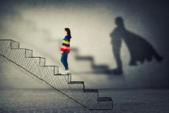 Aspiration. Happy young woman climbing a imaginative stairway with aspiration of becoming superhero. Dream of success, inner power and confidence symbol stock illustration