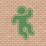 Aspiration heureuse de marionnette dans le mur de briques illustration stock