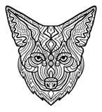 Aspiration principale de main de beau coyote sauvage sur un fond blanc Costumes africains tribals ethniques animaux d'impression  illustration stock
