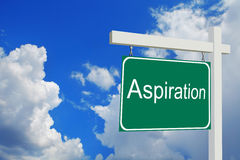 Aspiration. Road Sign with clouds and sky. The word aspiration. Road Sign with clouds and sky Vector Illustration